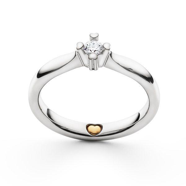HEART-PRONG forlovelsesring i hvidguld med indvendigt hjerte i 24 guld.