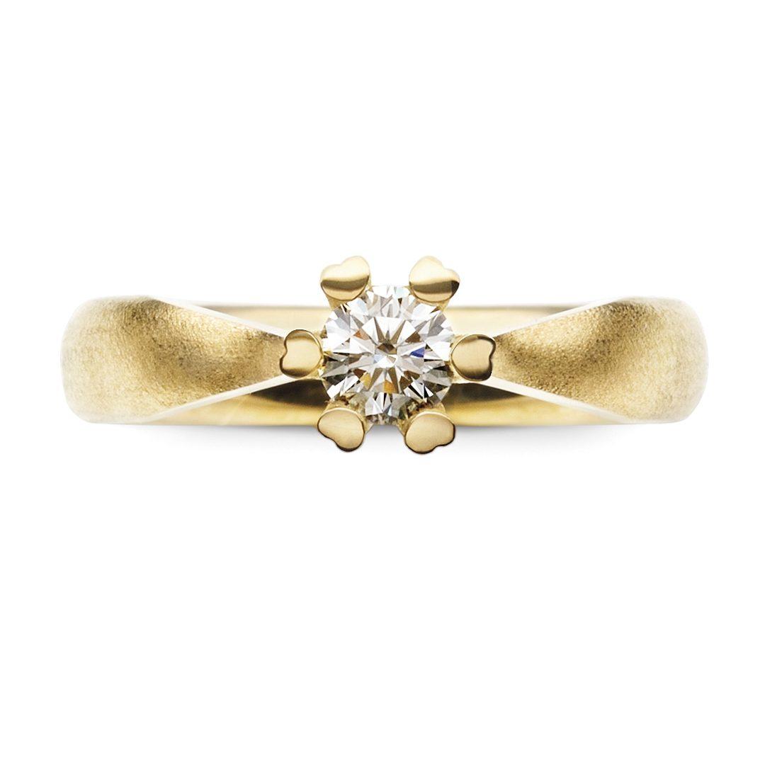 HEART-PRONG forlovelsesring i gult guld med brillant 0,35 ct. TW-VVS